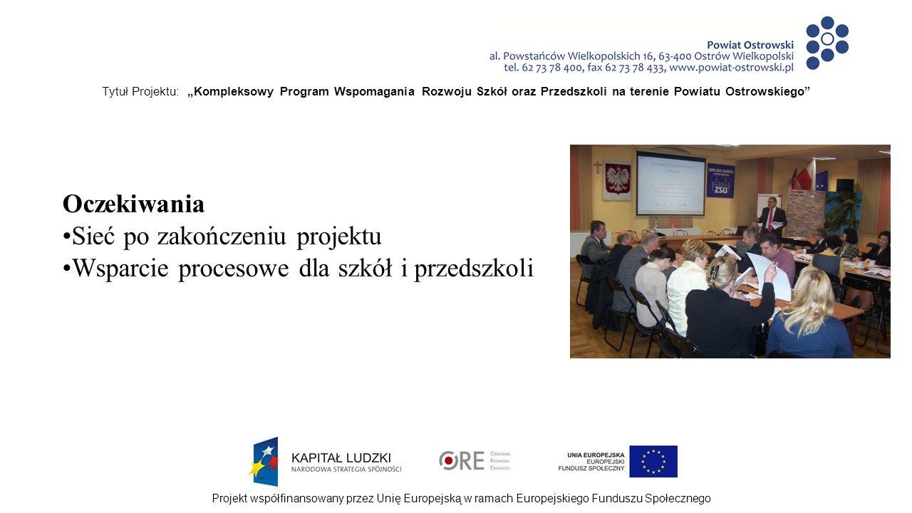 """Tytuł Projektu: """"Kompleksowy Program Wspomagania Rozwoju Szkół oraz Przedszkoli na terenie Powiatu Ostrowskiego Projekt współfinansowany przez Unię Europejską w ramach Europejskiego Funduszu Społecznego Oczekiwania Sieć po zakończeniu projektu Wsparcie procesowe dla szkół i przedszkoli"""