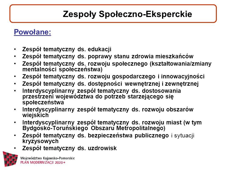 Zespoły Społeczno-Eksperckie Powołane: Zespół tematyczny ds.