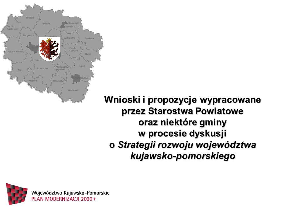 Wnioski i propozycje wypracowane przez Starostwa Powiatowe oraz niektóre gminy w procesie dyskusji o Strategii rozwoju województwa kujawsko-pomorskiego
