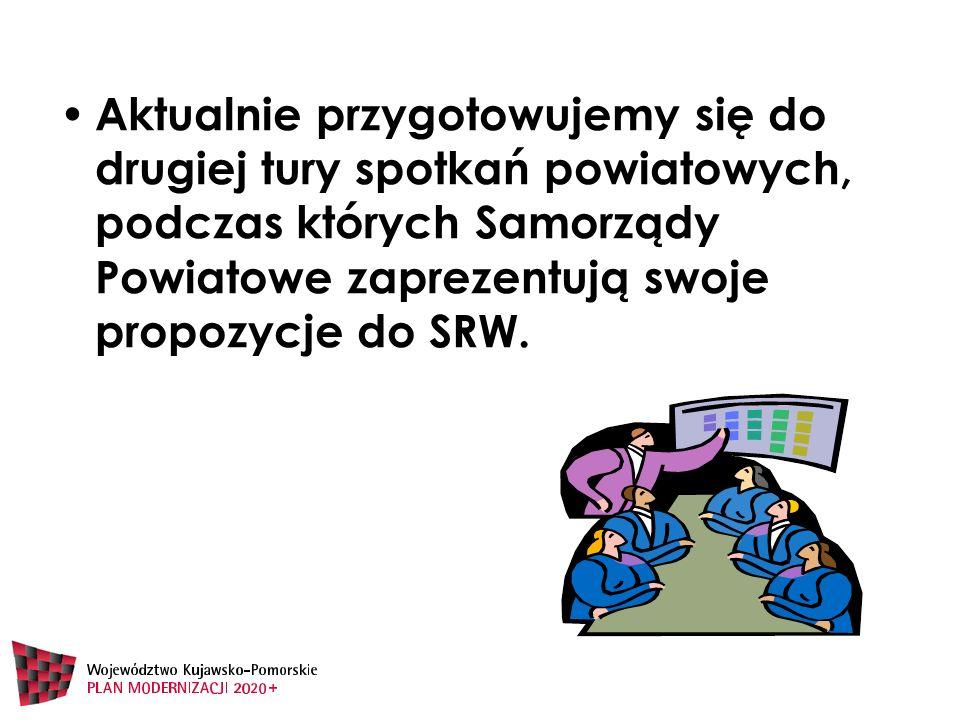 Aktualnie przygotowujemy się do drugiej tury spotkań powiatowych, podczas których Samorządy Powiatowe zaprezentują swoje propozycje do SRW.