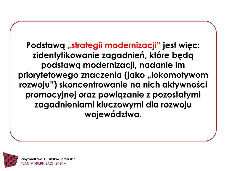 """Podstawą """"strategii modernizacji jest więc: zidentyfikowanie zagadnień, które będą podstawą modernizacji, nadanie im priorytetowego znaczenia (jako """"lokomotywom rozwoju ) skoncentrowanie na nich aktywności promocyjnej oraz powiązanie z pozostałymi zagadnieniami kluczowymi dla rozwoju województwa."""