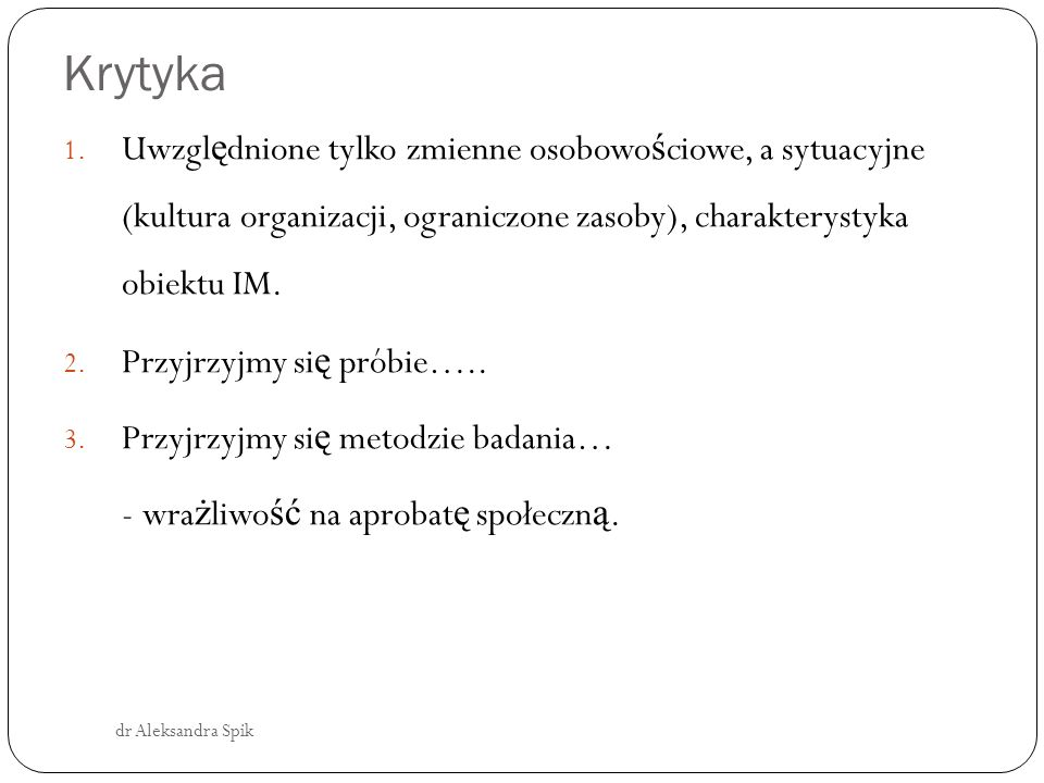 Krytyka dr Aleksandra Spik 1.