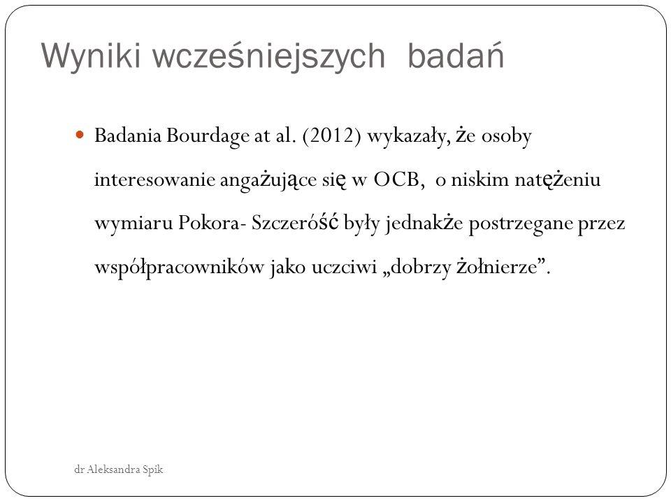 Wyniki wcześniejszych badań dr Aleksandra Spik Badania Bourdage at al.