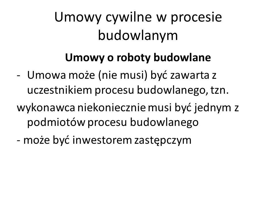 Umowy cywilne w procesie budowlanym Umowy o roboty budowlane -Umowa może (nie musi) być zawarta z uczestnikiem procesu budowlanego, tzn. wykonawca nie