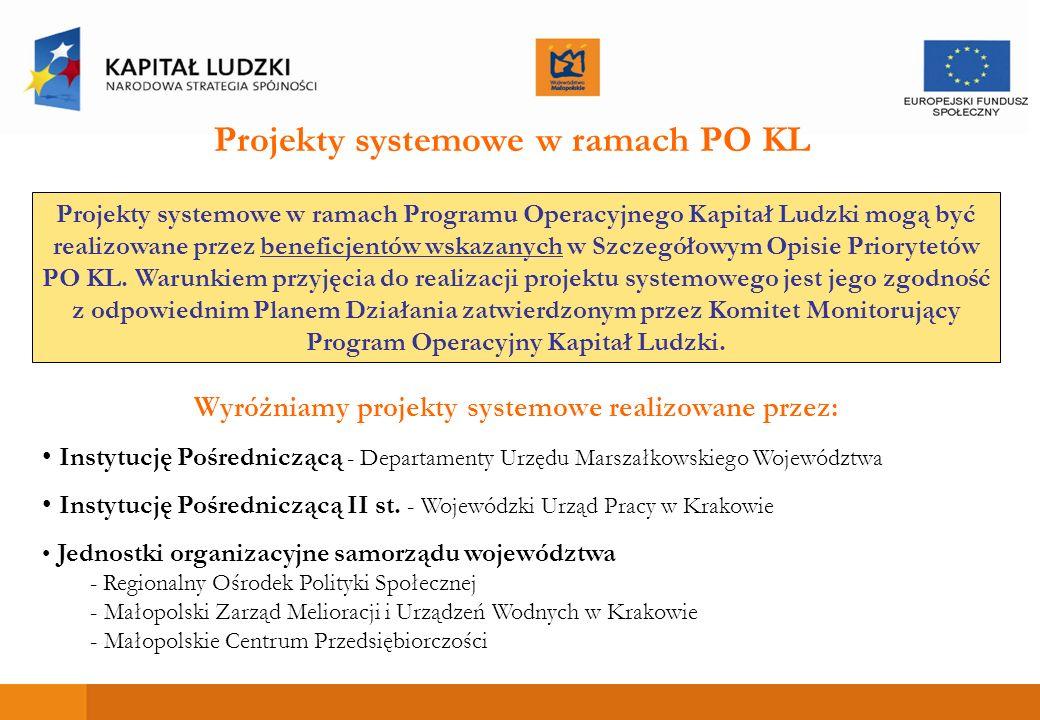 Projekty systemowe w ramach Programu Operacyjnego Kapitał Ludzki mogą być realizowane przez beneficjentów wskazanych w Szczegółowym Opisie Priorytetów PO KL.