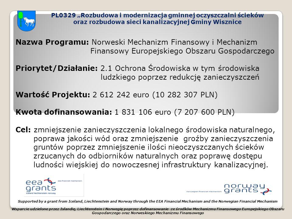 """PL0329 """"Rozbudowa i modernizacja gminnej oczyszczalni ścieków oraz rozbudowa sieci kanalizacyjnej Gminy Wisznice Supported by a grant from Iceland, Liechtenstein and Norway through the EEA Financial Mechanism and the Norwegian Financial Mechanism Wsparcie udzielone przez Islandię, Liechtenstein i Norwegię poprzez dofinansowanie ze środków Mechanizmu Finansowego Europejskiego Obszaru Gospodarczego oraz Norweskiego Mechanizmu Finansowego Nazwa Programu: Norweski Mechanizm Finansowy i Mechanizm Finansowy Europejskiego Obszaru Gospodarczego Priorytet/Działanie: 2.1 Ochrona Środowiska w tym środowiska ludzkiego poprzez redukcję zanieczyszczeń Wartość Projektu: 2 612 242 euro (10 282 307 PLN) Kwota dofinansowania: 1 831 106 euro (7 207 600 PLN) Cel: zmniejszenie zanieczyszczenia lokalnego środowiska naturalnego, poprawa jakości wód oraz zmniejszenie groźby zanieczyszczenia gruntów poprzez zmniejszenie ilości nieoczyszczanych ścieków zrzucanych do odbiorników naturalnych oraz poprawę dostępu ludności wiejskiej do nowoczesnej infrastruktury kanalizacyjnej."""