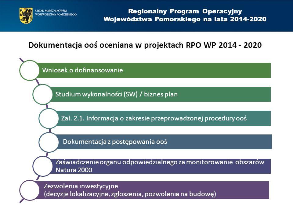 Regionalny Program Operacyjny Województwa Pomorskiego na lata 2014-2020 Dokumentacja ooś oceniana w projektach RPO WP 2014 - 2020 Wniosek o dofinansowanie Studium wykonalności (SW) / biznes plan Zał.