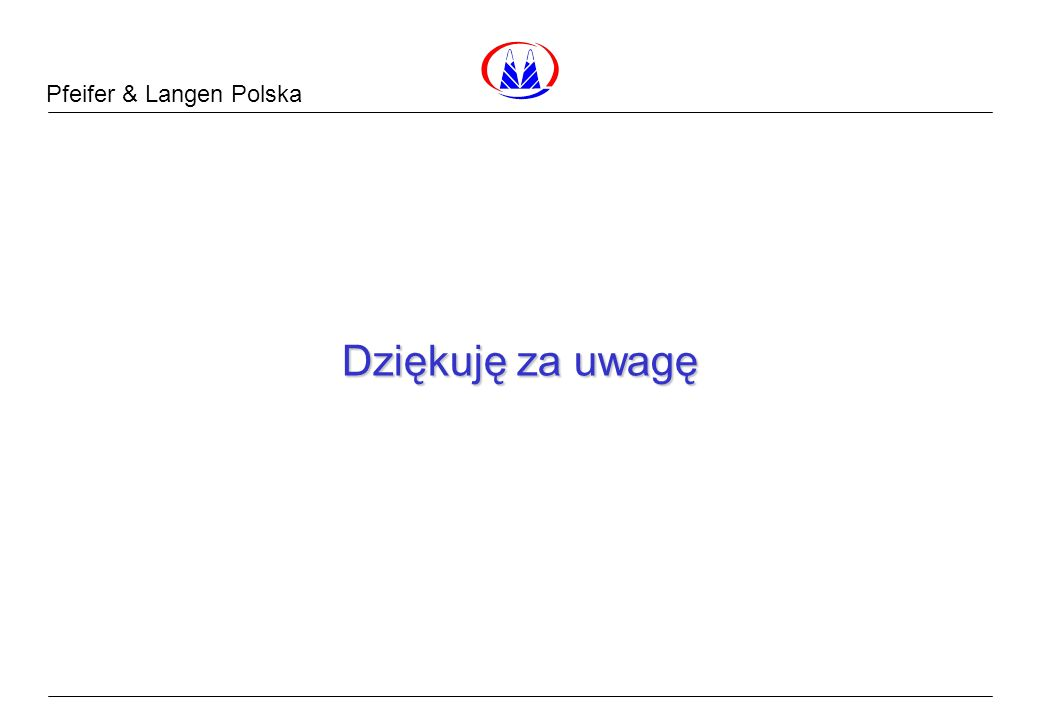 Pfeifer & Langen Polska Dane Surowcowe Dziękuję za uwagę