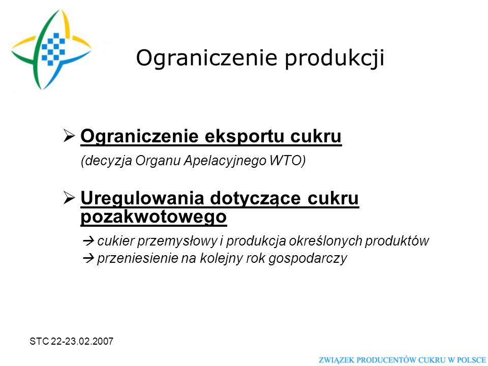 STC 22-23.02.2007 Ograniczenie produkcji  Ograniczenie eksportu cukru (decyzja Organu Apelacyjnego WTO)  Uregulowania dotyczące cukru pozakwotowego  cukier przemysłowy i produkcja określonych produktów  przeniesienie na kolejny rok gospodarczy