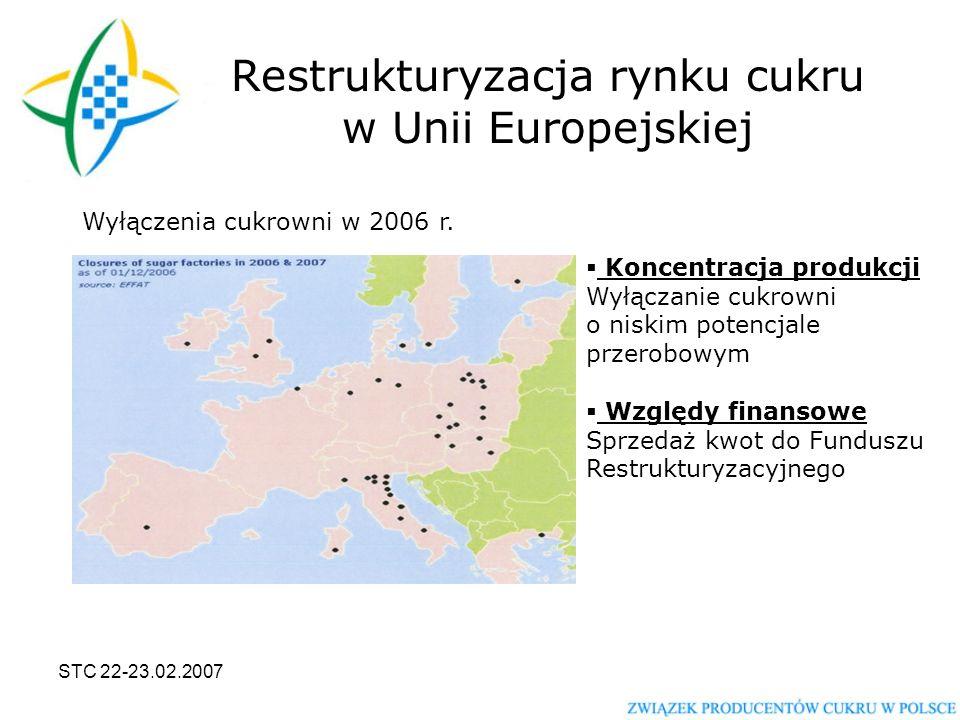 STC 22-23.02.2007 Restrukturyzacja rynku cukru w Unii Europejskiej Wyłączenia cukrowni w 2006 r.