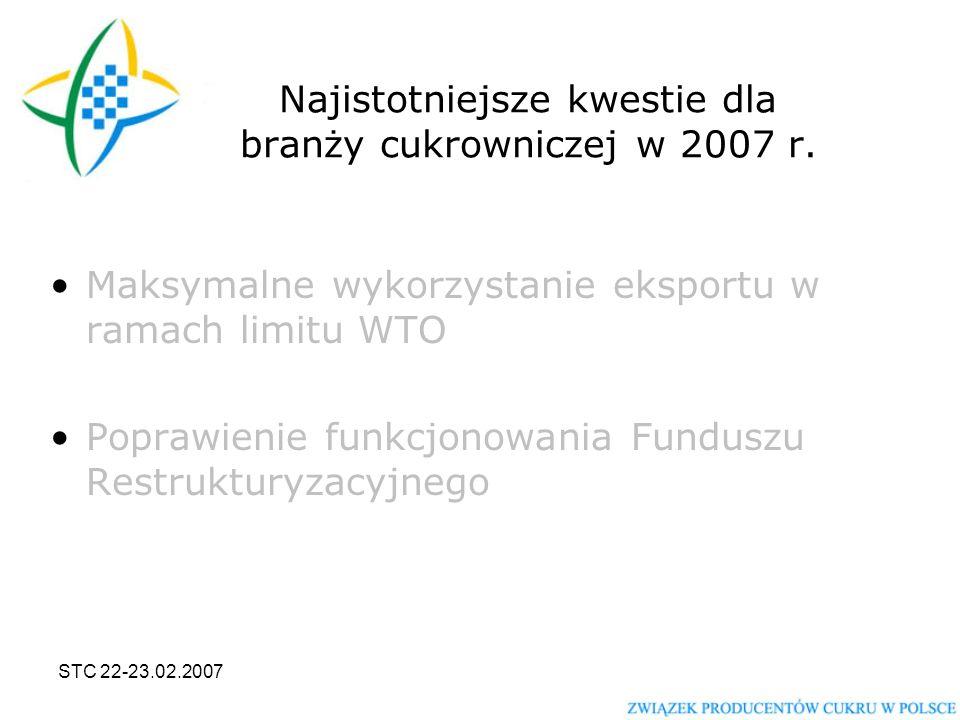 STC 22-23.02.2007 Najistotniejsze kwestie dla branży cukrowniczej w 2007 r.