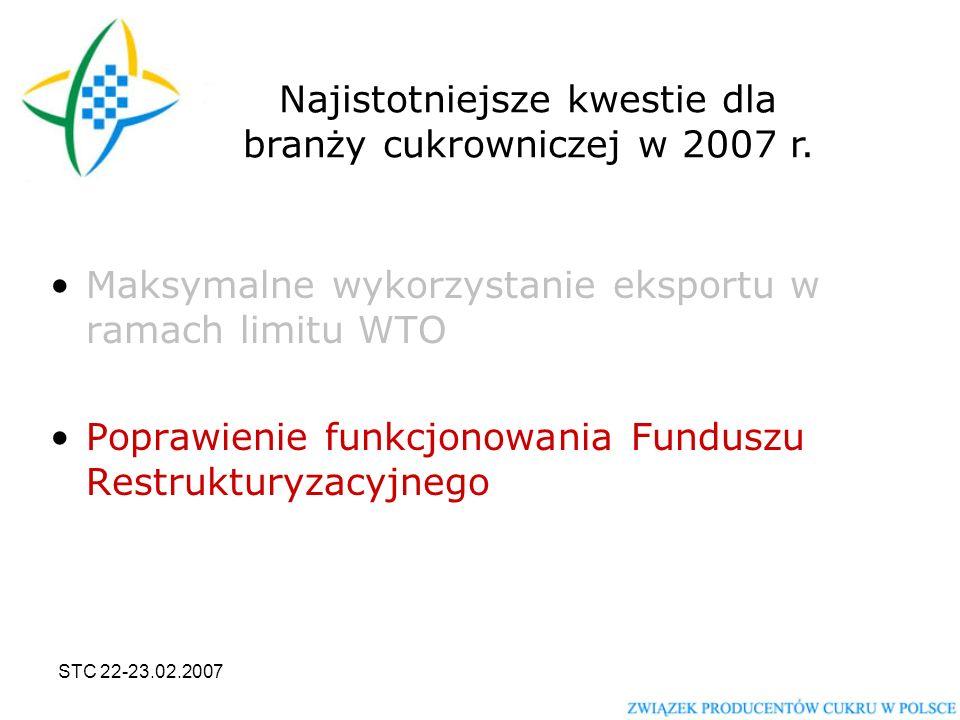 STC 22-23.02.2007 Maksymalne wykorzystanie eksportu w ramach limitu WTO Poprawienie funkcjonowania Funduszu Restrukturyzacyjnego Najistotniejsze kwestie dla branży cukrowniczej w 2007 r.
