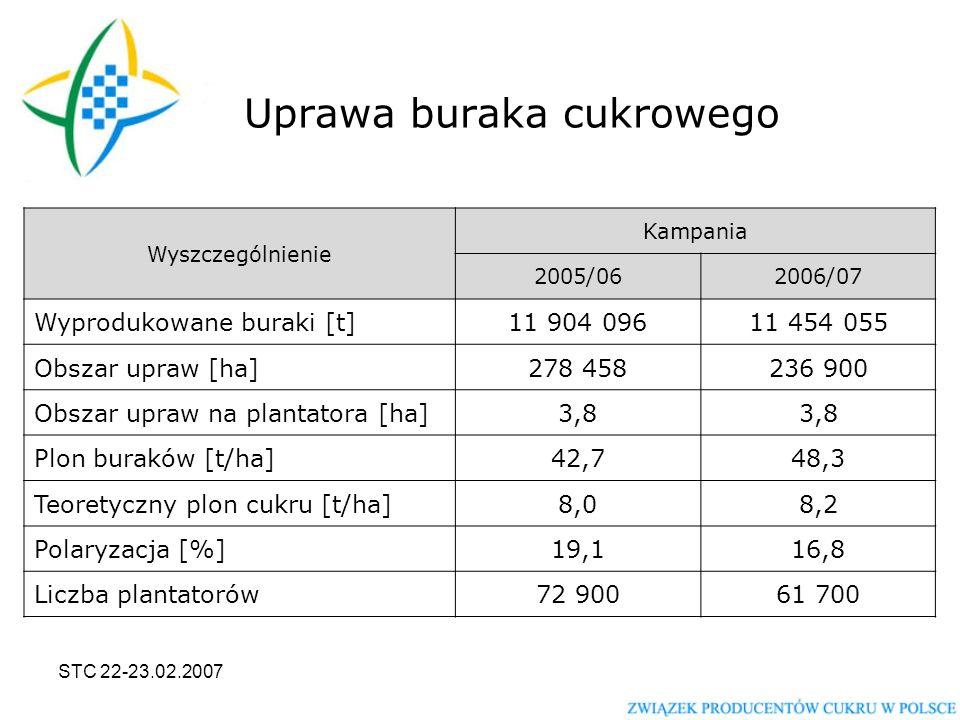 STC 22-23.02.2007 Uprawa buraka cukrowego Wyszczególnienie Kampania 2005/062006/07 Wyprodukowane buraki [t]11 904 09611 454 055 Obszar upraw [ha]278 458236 900 Obszar upraw na plantatora [ha]3,8 Plon buraków [t/ha]42,748,3 Teoretyczny plon cukru [t/ha]8,08,2 Polaryzacja [%]19,116,8 Liczba plantatorów72 90061 700