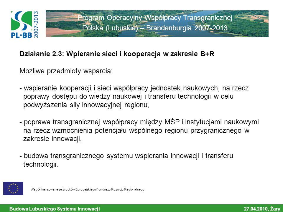 Budowa Lubuskiego Systemu Innowacji 27.04.2010, Żary Współfinansowane ze środków Europejskiego Funduszu Rozwoju Regionalnego Program Operacyjny Współpracy Transgranicznej Polska (Lubuskie) – Brandenburgia 2007-2013 Działanie 2.3: Wpieranie sieci i kooperacja w zakresie B+R Możliwe przedmioty wsparcia: - wspieranie kooperacji i sieci współpracy jednostek naukowych, na rzecz poprawy dostępu do wiedzy naukowej i transferu technologii w celu podwyższenia siły innowacyjnej regionu, - poprawa transgranicznej współpracy między MŚP i instytucjami naukowymi na rzecz wzmocnienia potencjału wspólnego regionu przygranicznego w zakresie innowacji, - budowa transgranicznego systemu wspierania innowacji i transferu technologii.