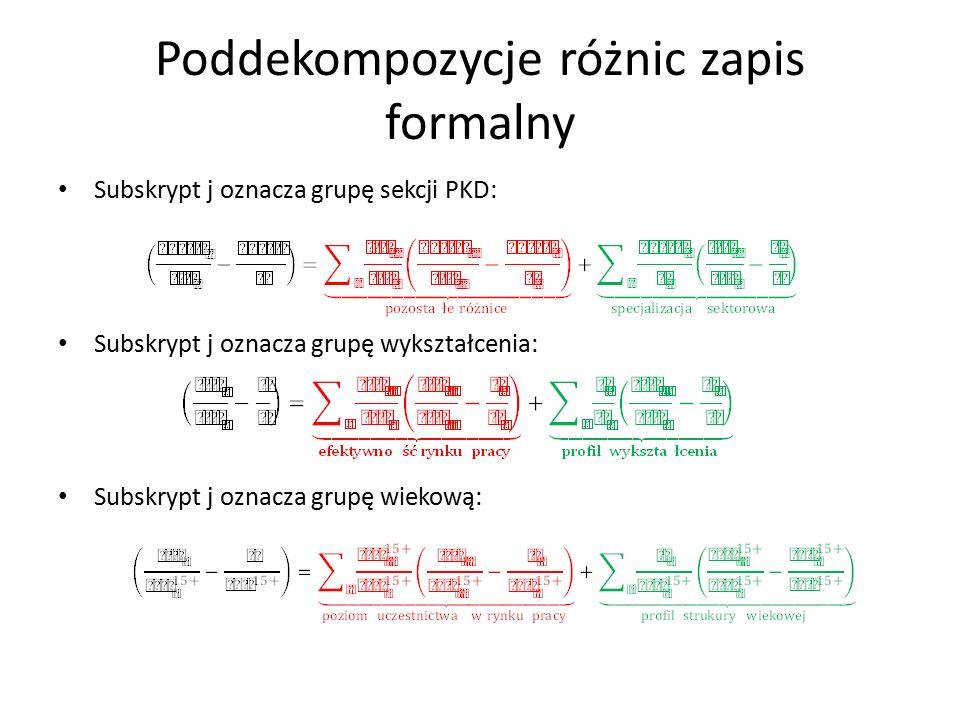 Poddekompozycje różnic zapis formalny Subskrypt j oznacza grupę sekcji PKD: Subskrypt j oznacza grupę wykształcenia: Subskrypt j oznacza grupę wiekową: