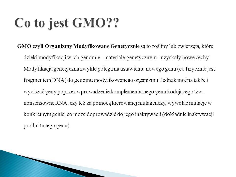 GMO czyli Organizmy Modyfikowane Genetycznie są to rośliny lub zwierzęta, które dzięki modyfikacji w ich genomie - materiale genetycznym - uzyskały no