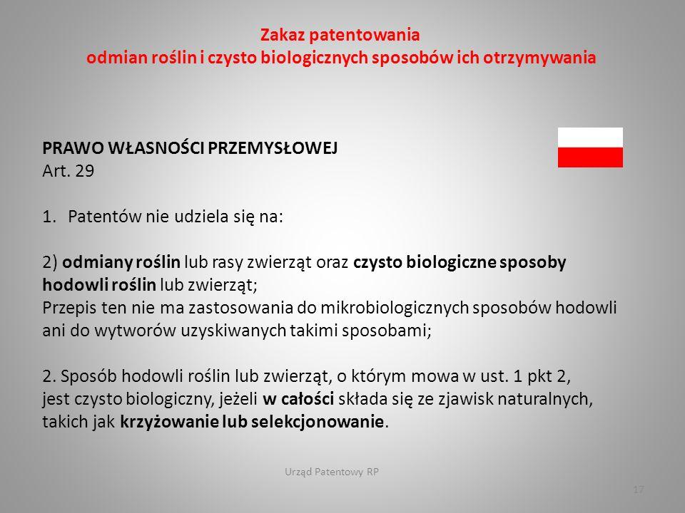 Urząd Patentowy RP 17 PRAWO WŁASNOŚCI PRZEMYSŁOWEJ Art.