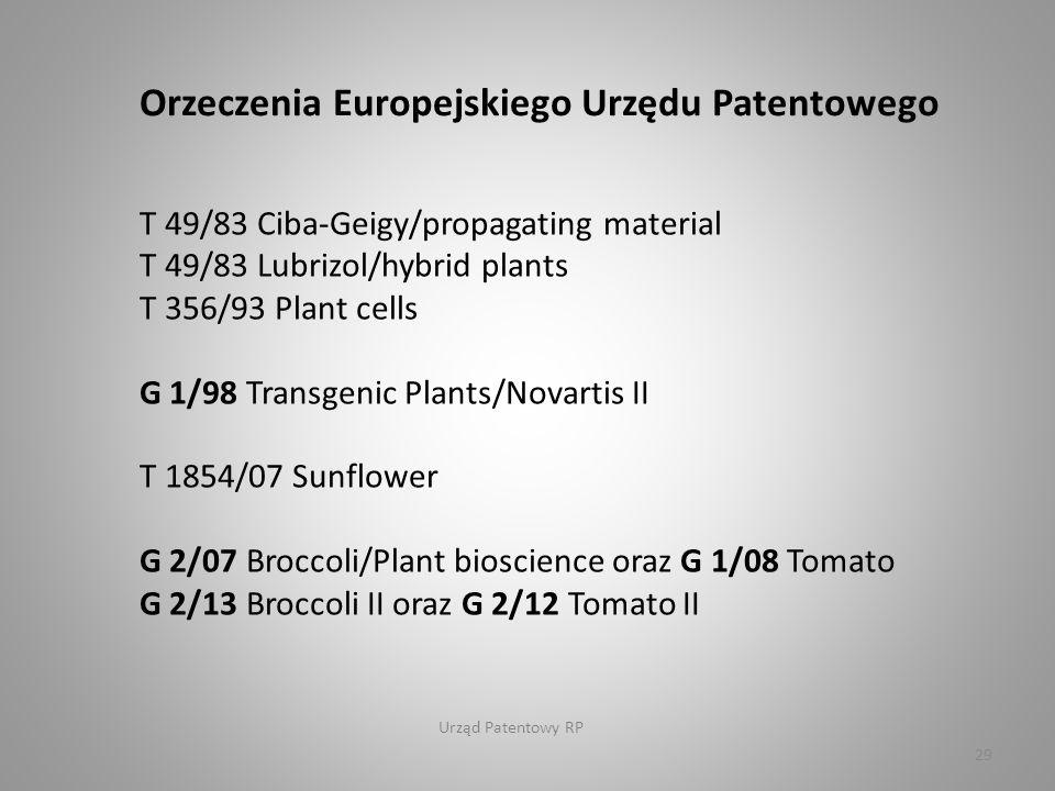 Urząd Patentowy RP 29 Orzeczenia Europejskiego Urzędu Patentowego T 49/83 Ciba-Geigy/propagating material T 49/83 Lubrizol/hybrid plants T 356/93 Plant cells G 1/98 Transgenic Plants/Novartis II T 1854/07 Sunflower G 2/07 Broccoli/Plant bioscience oraz G 1/08 Tomato G 2/13 Broccoli II oraz G 2/12 Tomato II