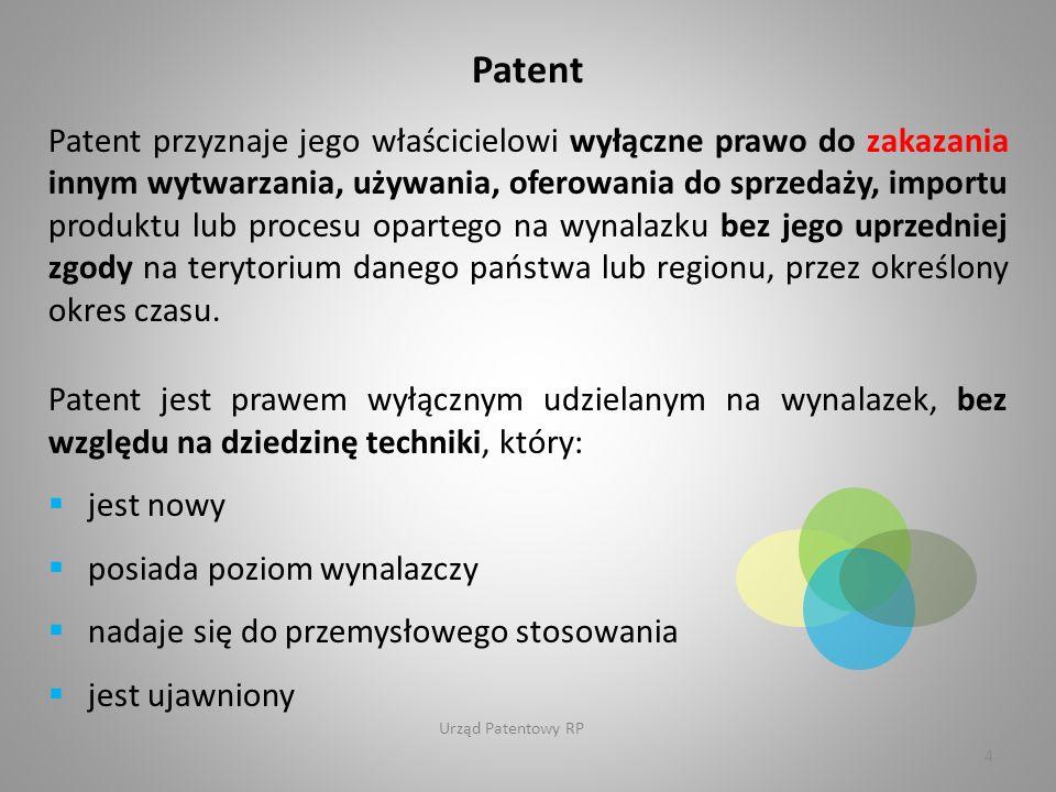 Urząd Patentowy RP Patent Patent przyznaje jego właścicielowi wyłączne prawo do zakazania innym wytwarzania, używania, oferowania do sprzedaży, importu produktu lub procesu opartego na wynalazku bez jego uprzedniej zgody na terytorium danego państwa lub regionu, przez określony okres czasu.