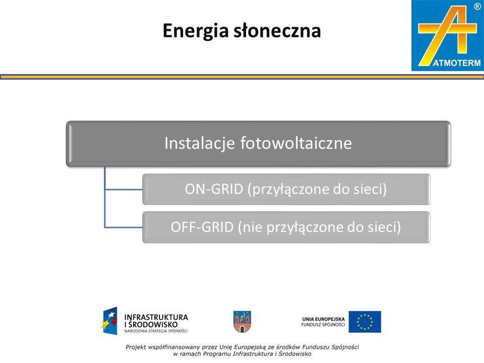 Energia słoneczna Instalacje fotowoltaiczne ON-GRID (przyłączone do sieci)OFF-GRID (nie przyłączone do sieci)
