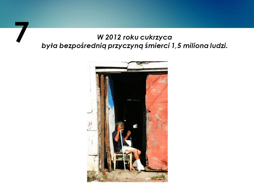W 2012 roku cukrzyca była bezpośrednią przyczyną śmierci 1,5 miliona ludzi. 7