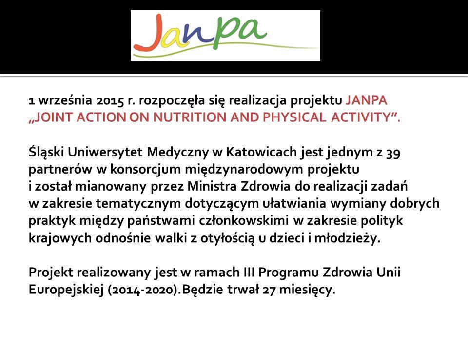 oszacować koszty ekonomiczne związane z nadwagą i otyłością udoskonalić wdrażanie zintegrowanych działań promujących zdrowe odżywianie i aktywność fizyczną ze szczególnym uwzględnieniem kobiet w ciąży i rodzin z małymi dziećmi wspomóc kreowanie lepszych warunków opieki nad dzieckiem w rodzinie, przedszkolu i szkole poprawić sposób gromadzenia i wykorzystywania przez organy zdrowia publicznego, interesariuszy i rodziny informacji o wartości odżywczej produktów spożywczych Identyfikacja oraz wybór najlepszych praktyk pomiędzy państwami uczestniczącymi w JANPA pozwala: