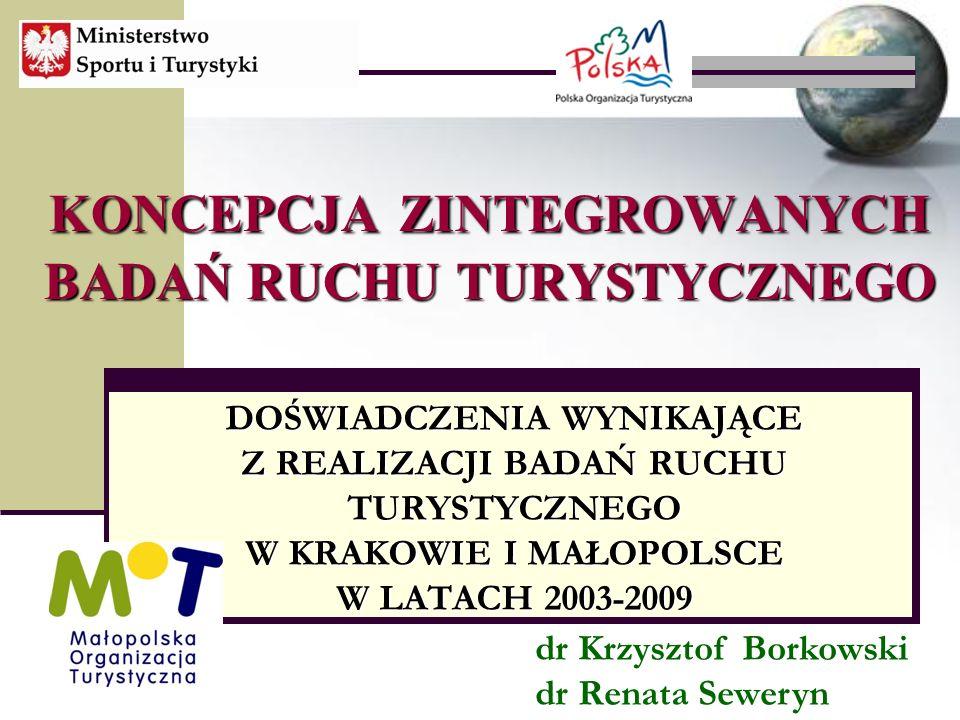 KONCEPCJA ZINTEGROWANYCH BADAŃ RUCHU TURYSTYCZNEGO DOŚWIADCZENIA WYNIKAJĄCE Z REALIZACJI BADAŃ RUCHU TURYSTYCZNEGO W KRAKOWIE I MAŁOPOLSCE W LATACH 2003-2009 dr Krzysztof Borkowski dr Renata Seweryn