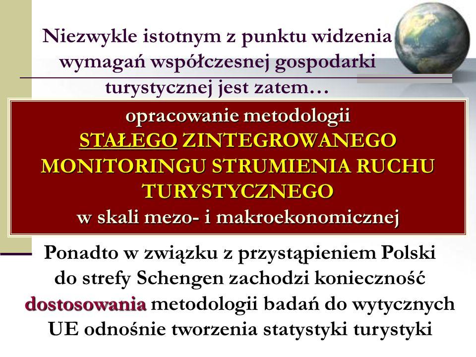 Niezwykle istotnym z punktu widzenia wymagań współczesnej gospodarki turystycznej jest zatem… opracowanie metodologii STAŁEGO ZINTEGROWANEGO MONITORINGU STRUMIENIA RUCHU TURYSTYCZNEGO w skali mezo- i makroekonomicznej Ponadto w związku z przystąpieniem Polski do strefy Schengen zachodzi konieczność dostosowania metodologii badań do wytycznych UE odnośnie tworzenia statystyki turystyki