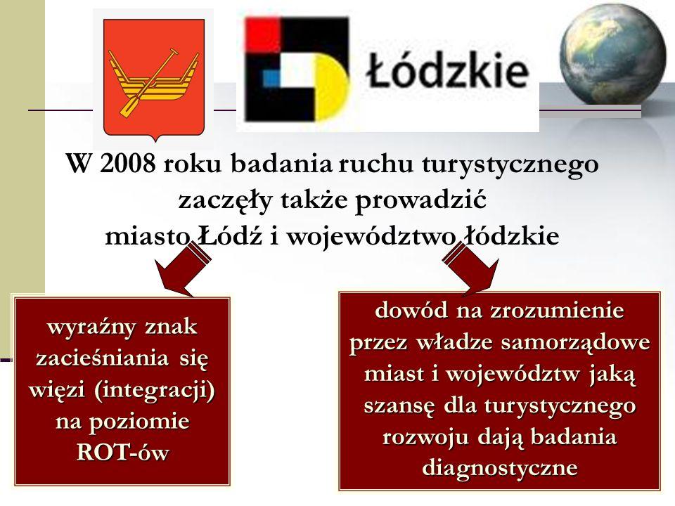 W 2008 roku badania ruchu turystycznego zaczęły także prowadzić miasto Łódź i województwo łódzkie wyraźny znak zacieśniania się więzi (integracji) na poziomie ROT-ów dowód na zrozumienie przez władze samorządowe miast i województw jaką szansę dla turystycznego rozwoju dają badania diagnostyczne