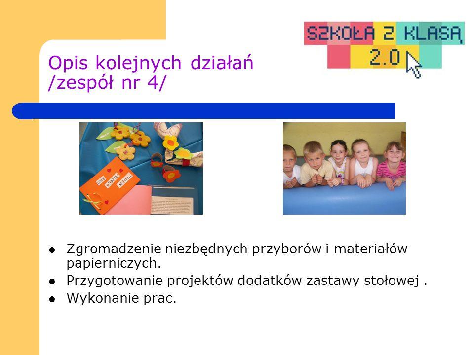 Opis kolejnych działań /zespół nr 4/ Zgromadzenie niezbędnych przyborów i materiałów papierniczych.