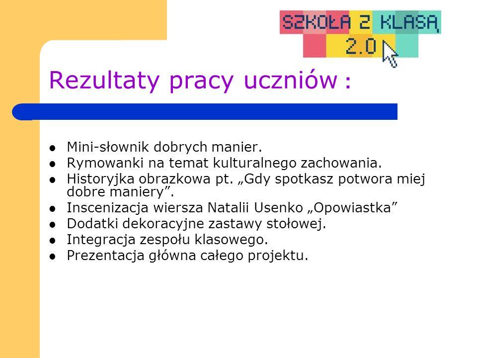 Rezultaty pracy uczniów : Mini-słownik dobrych manier.