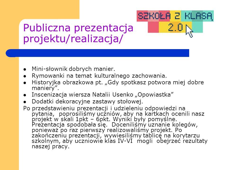 Publiczna prezentacja projektu/realizacja/ Mini-słownik dobrych manier.