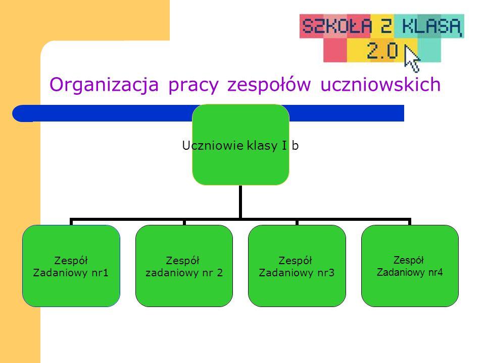 Organizacja pracy zespołów uczniowskich Uczniowie klasy I b Zespół Zadaniowy nr1 Zespół zadaniowy nr 2 Zespół Zadaniowy nr3 Zespół Zadaniowy nr4