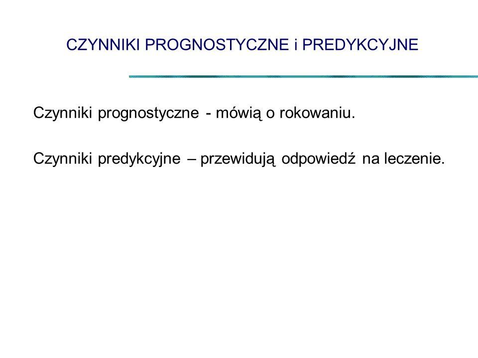 CZYNNIKI PROGNOSTYCZNE i PREDYKCYJNE Czynniki prognostyczne - mówią o rokowaniu. Czynniki predykcyjne – przewidują odpowiedź na leczenie.
