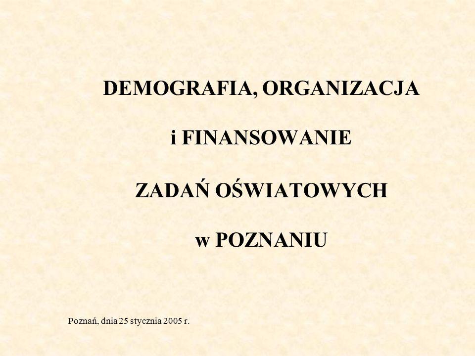 DEMOGRAFIA, ORGANIZACJA i FINANSOWANIE ZADAŃ OŚWIATOWYCH w POZNANIU Poznań, dnia 25 stycznia 2005 r.