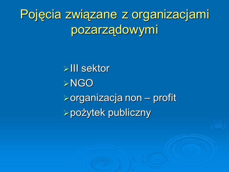 Pojęcia związane z organizacjami pozarządowymi  III sektor  NGO  organizacja non – profit  pożytek publiczny