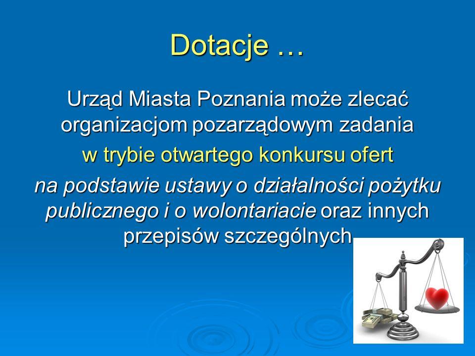 Dotacje … Urząd Miasta Poznania może zlecać organizacjom pozarządowym zadania w trybie otwartego konkursu ofert na podstawie ustawy o działalności pożytku publicznego i o wolontariacie oraz innych przepisów szczególnych