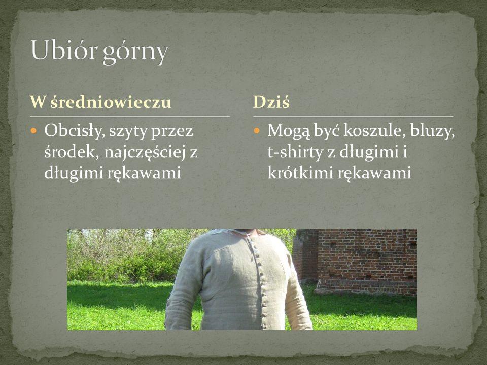 W średniowieczu Obcisły, szyty przez środek, najczęściej z długimi rękawami Mogą być koszule, bluzy, t-shirty z długimi i krótkimi rękawami Dziś