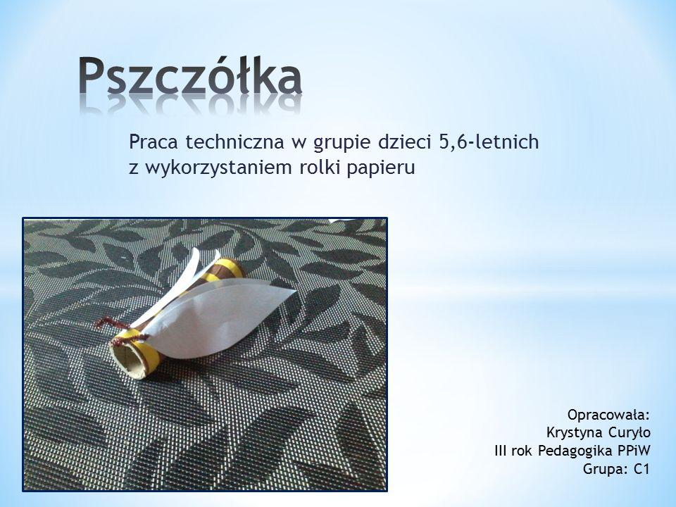 Praca techniczna w grupie dzieci 5,6-letnich z wykorzystaniem rolki papieru Opracowała: Krystyna Curyło III rok Pedagogika PPiW Grupa: C1