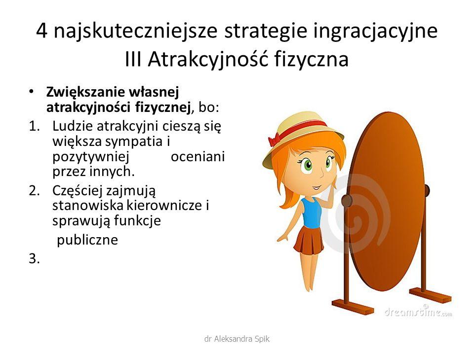 4 najskuteczniejsze strategie ingracjacyjne III Atrakcyjność fizyczna Zwiększanie własnej atrakcyjności fizycznej, bo: 1.Ludzie atrakcyjni cieszą się