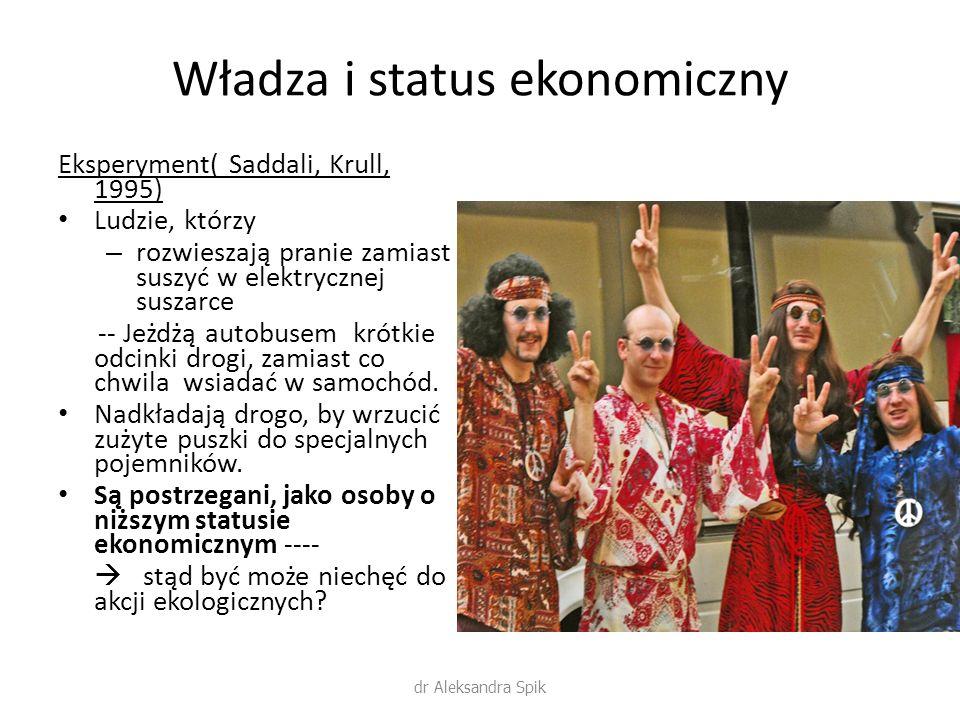 Władza i status ekonomiczny Eksperyment( Saddali, Krull, 1995) Ludzie, którzy – rozwieszają pranie zamiast suszyć w elektrycznej suszarce -- Jeżdżą au