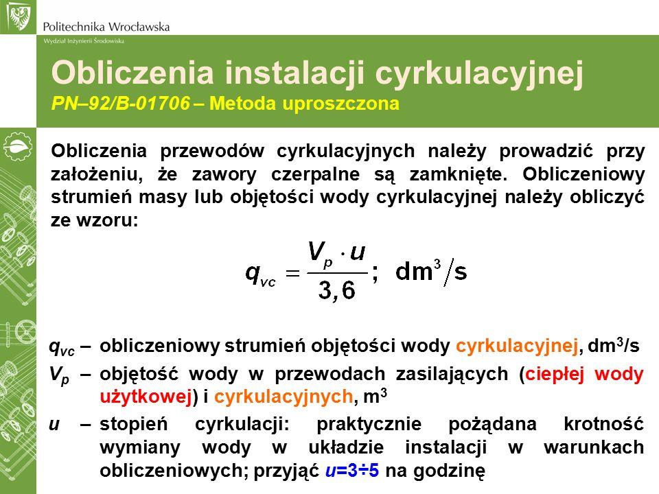 Obliczenia instalacji cyrkulacyjnej PN–92/B-01706 – Metoda uproszczona Obliczenia przewodów cyrkulacyjnych należy prowadzić przy założeniu, że zawory