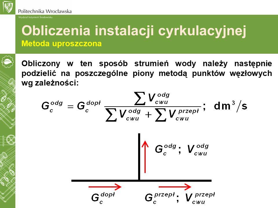 Obliczony w ten sposób strumień wody należy następnie podzielić na poszczególne piony metodą punktów węzłowych wg zależności: Obliczenia instalacji cy