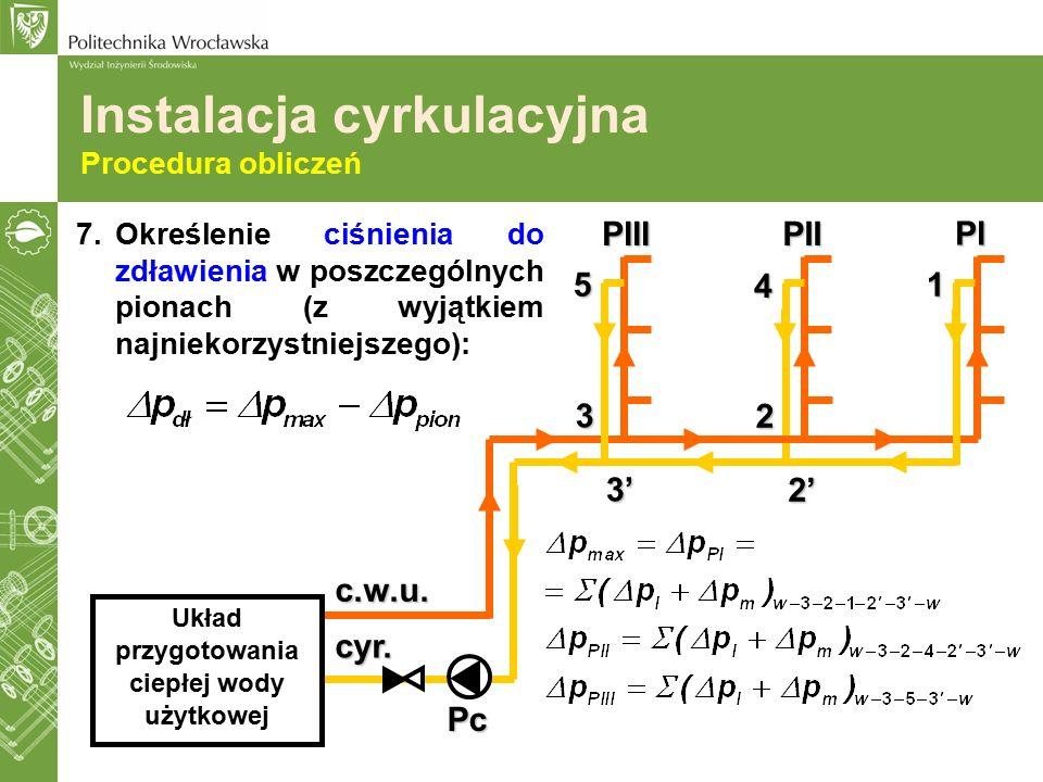 7.Określenie ciśnienia do zdławienia w poszczególnych pionach (z wyjątkiem najniekorzystniejszego): Pc c.w.u. cyr. Układ przygotowania ciepłej wody uż