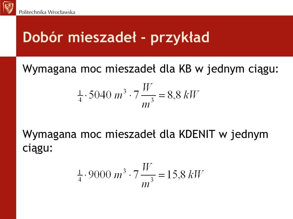 Dobór mieszadeł - przykład Wymagana moc mieszadeł dla KB w jednym ciągu: Wymagana moc mieszadeł dla KDENIT w jednym ciągu: