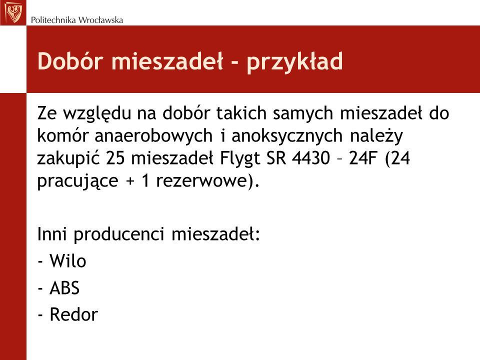Dobór mieszadeł - przykład Ze względu na dobór takich samych mieszadeł do komór anaerobowych i anoksycznych należy zakupić 25 mieszadeł Flygt SR 4430 – 24F (24 pracujące + 1 rezerwowe).