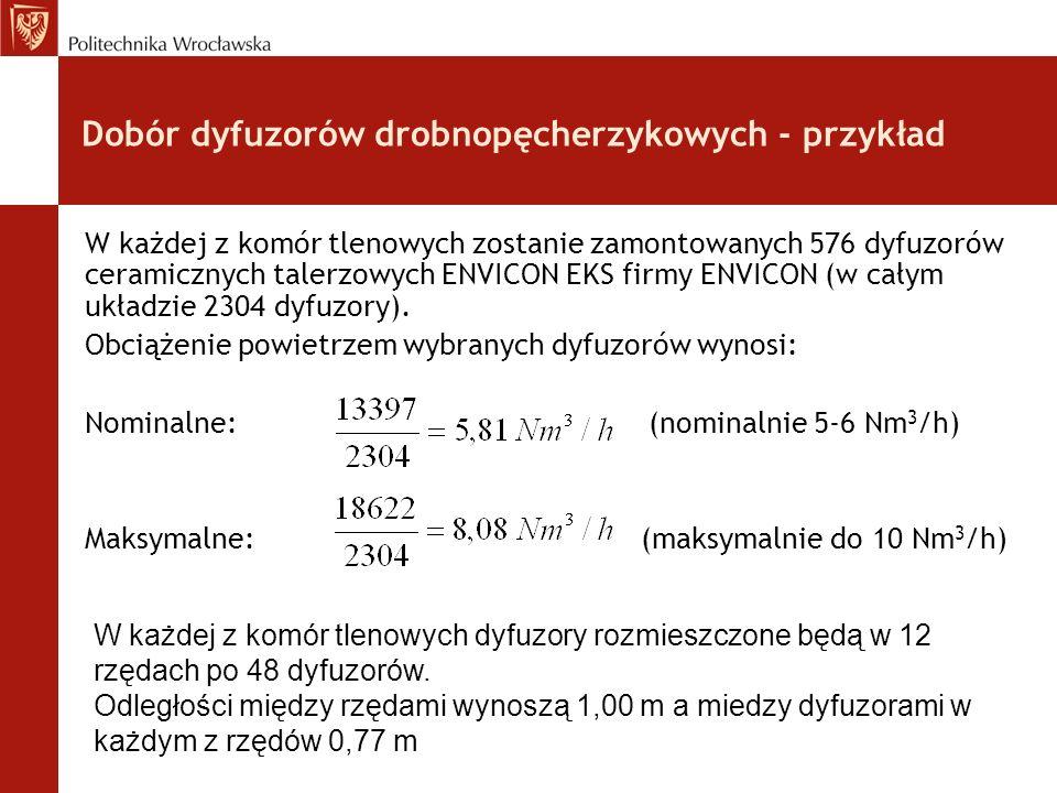 Dobór dyfuzorów drobnopęcherzykowych - przykład W każdej z komór tlenowych zostanie zamontowanych 576 dyfuzorów ceramicznych talerzowych ENVICON EKS firmy ENVICON (w całym układzie 2304 dyfuzory).
