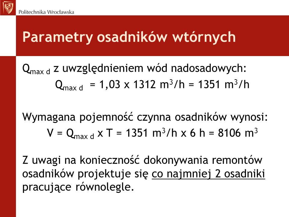 Parametry osadników wtórnych Q max d z uwzględnieniem wód nadosadowych: Q max d = 1,03 x 1312 m 3 /h = 1351 m 3 /h Wymagana pojemność czynna osadników wynosi: V = Q max d x T = 1351 m 3 /h x 6 h = 8106 m 3 Z uwagi na konieczność dokonywania remontów osadników projektuje się co najmniej 2 osadniki pracujące równolegle.