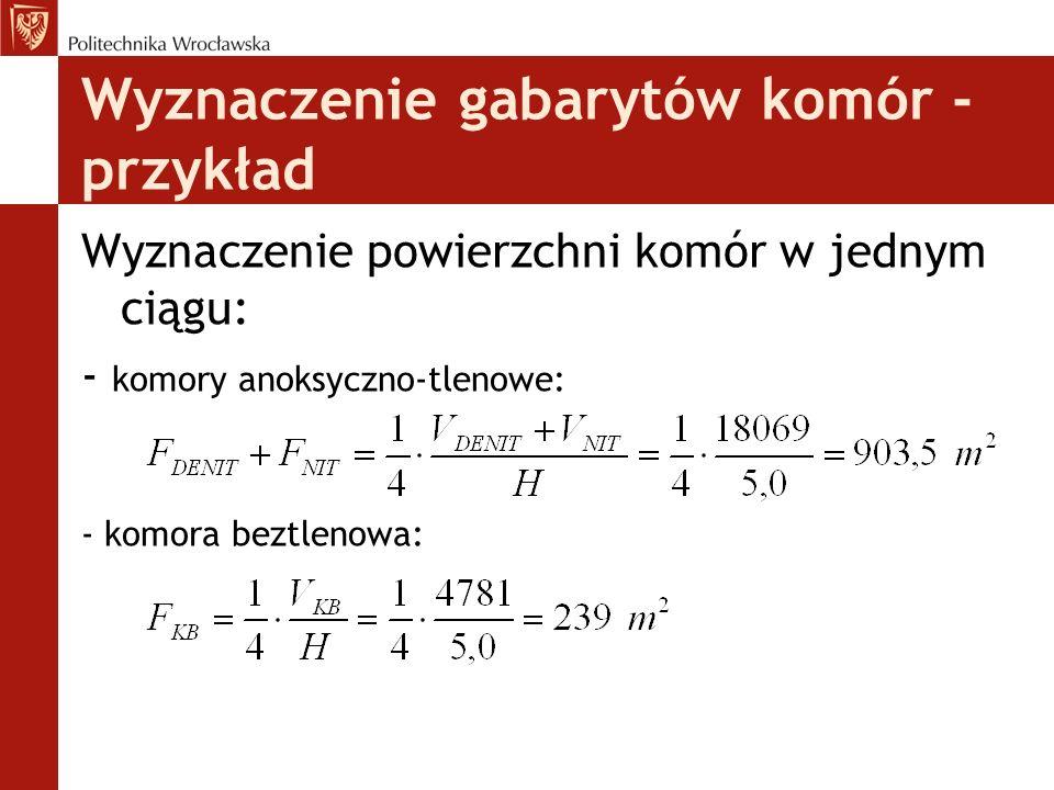 Wyznaczenie gabarytów komór - przykład Wyznaczenie powierzchni komór w jednym ciągu: - komory anoksyczno-tlenowe: - komora beztlenowa: