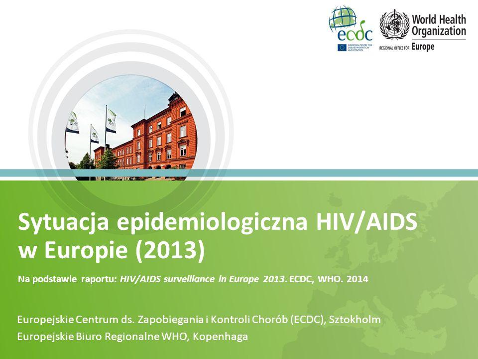 Sytuacja epidemiologiczna HIV/AIDS w Europie (2013) Na podstawie raportu: HIV/AIDS surveillance in Europe 2013. ECDC, WHO. 2014 Europejskie Centrum ds